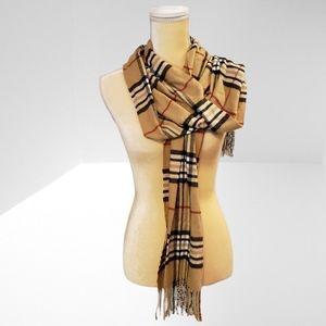 100% Cashmere Camel Plaid Scarf  Italy Design